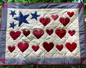 Sale American Flag Wallhanging Quilt- July 4th Patriotic, Independence Day, Memorial Day, Labor Day, Veteran's Day