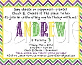 Custom Printable Chuck E. Cheese Inspired Birthday Party Invitation