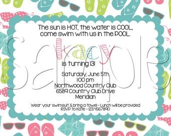 Custom Printable Pool Party Birthday Invitation