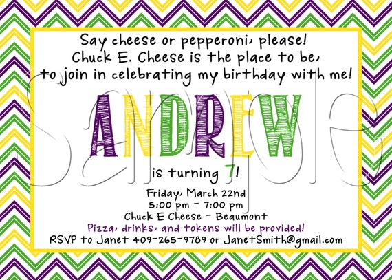 items similar to custom printable chuck e. cheese inspired, Birthday invitations