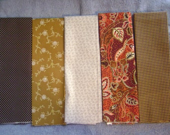 "5ct  Reds and Browns  Fat Quarters  18"" x 22""  New Cotton"