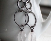 Faceted rose quartz oxidized sterling silver earrings - textured and hammered rings