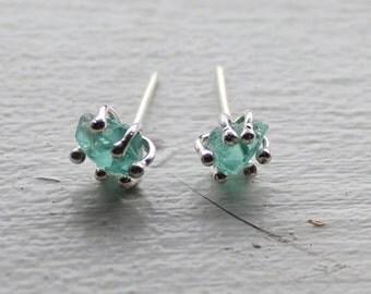 Mini rough apatite enrapture stud earrings - organic raw gemstone, natural, aqua watery blue