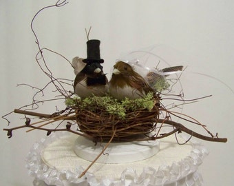 Wedding Cake Topper-Black Cap Chickadees and Twig Nest- bird cake topper