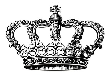 Crown rubber stamp mounted on a clear block --4003