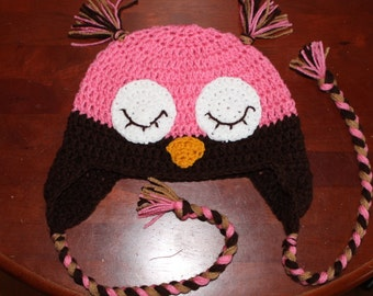 Sleeping Owl Ear Flap Hat - All Sizes