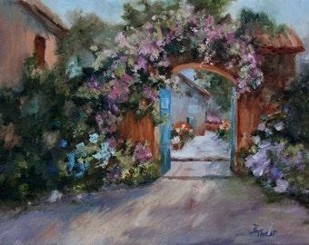 Garden Landscape Original 11x14 Oil Painting