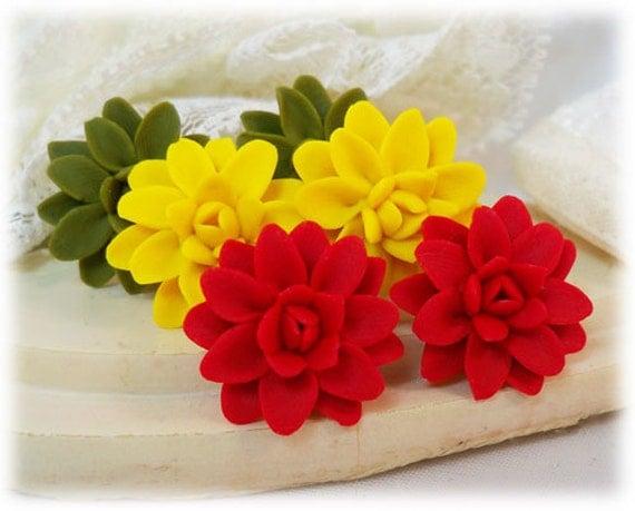 Dahlia Earrings Stud or Clip On - Dahlia Jewelry Collection, Flower Stud Earrings