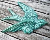 Handmade Ceramic Shiny Blue Green Sparrow Bird Focal Pendant