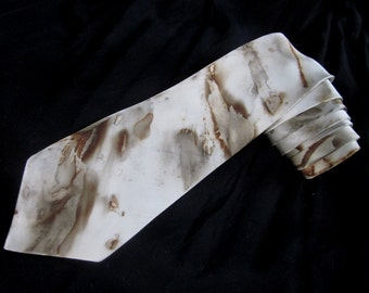Storm on Olympus Mons Natural Dyed 100% Silk Necktie Hand Dyed with Plants, Sustainable Dyes, Natural Iron, OOAK Homemade Homegrown Dyes