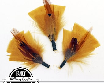 SALE - 3 - Gold / Brown - Feather Picks - Great for Earrings - Boutonnieres - Millinery