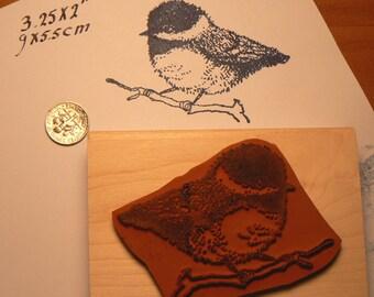 Chickadee bird rubber stamp WM P3