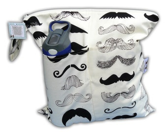 "SALE -BEST Selling Wet Bags here -Large Wet/Dry Bag with Snap Handle in I ""Mustache"" You a Question"