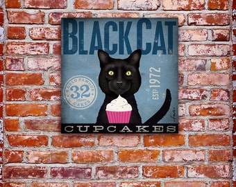 BLACK CAT cupcake company graphic illustration art on gallery wrapped canvas by stephen fowler