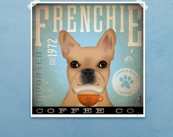 French Bulldog coffee company artwork original graphic illustration signed archival artists print giclee by stephen fowler PIck A Size