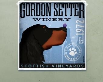 Gordon Setter Winery dog artwork illustration giclee signed artists print by Stephen Fowler