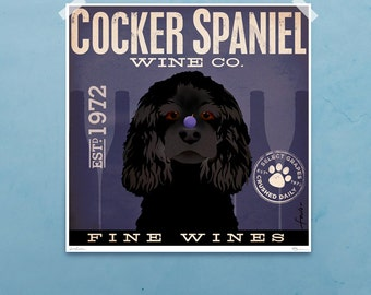 Cocker Spaniel dog Wine Company original graphic illustration giclee archival signed artist's print by stephen fowler