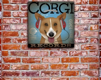 Welsh Corgi Records Company original graphic illustration on gallery wrapped canvas by stephen fowler