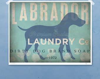 Labrador laundry company laundry room artwork giclee archival signed artists print by stephen fowler