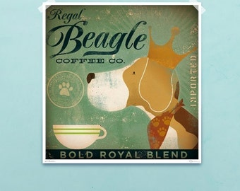 Regal Beagle Coffee company vintage style graphic art giclee archival signed print by Stephen Fowler