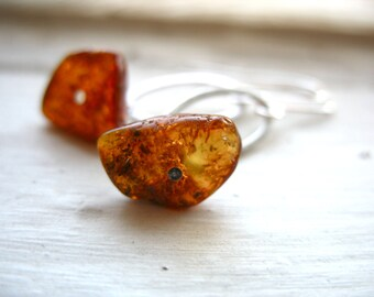 Amber Earrings, Baltic Amber Silver Hoop Earrings, Handmade Metalwork Stone Earrings
