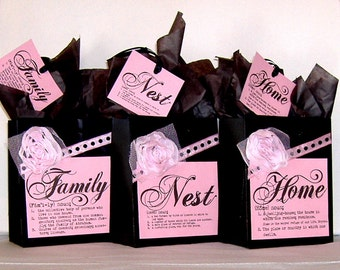 SALE! Paper Gift Bag Set, Home, Nest, Family with Black Bags, Fabric Flowers, & Matching Tags