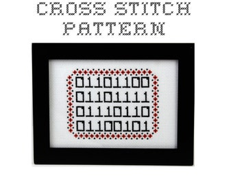 DIY  - LOVE in Binary - .pdf Original Cross Stitch Pattern - Instant Download
