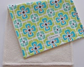CLOSEOUT SALE - Organic Collection Burp Cloth - Blue Graphic Flower