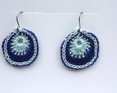 Crochet Earrings, Women's Jewelry,  Dual Color Ovals Gift for her, Mother's Day Gift, Jewelry, Earrings, Everday Jewelry in Blue & Pale Aqua