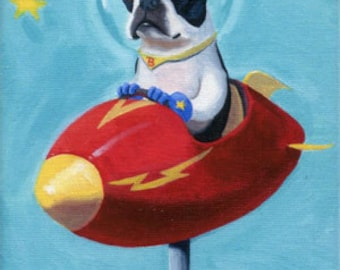 Boston Terrier Space Rocket -  Dog Art Magnet