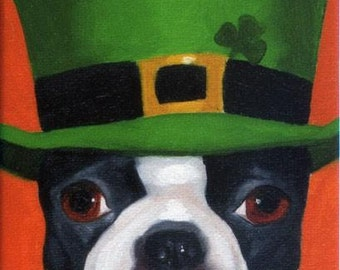 Boston Terrier irish Hat Cute Dog Art Magnet