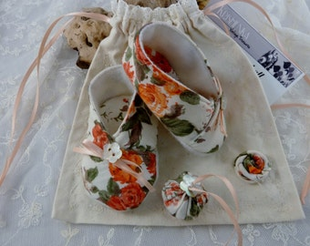 Kimono Slippers Baby Girl  Gift Set  Cotton Floral - Handmade 0-6mths