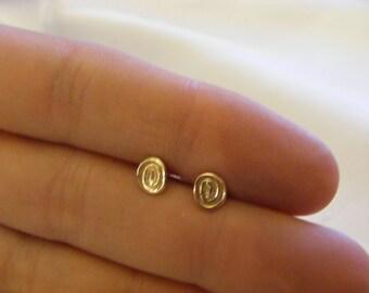 9k solid Rose Gold Tiny Swirl Stud Earrings Designer - Handmade Rose gold earrings