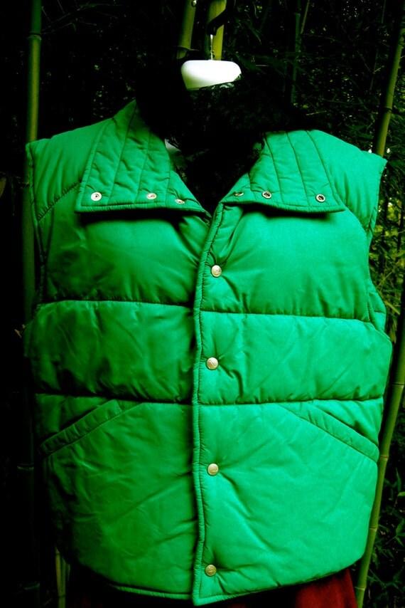 Puffer Vest - Size Medium to Large - Jade Green - 1970s