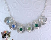 """Mothers Necklace Personalized Hand Stamped Jewelry 4 to 9 Sterling Silver 5/8"""" Disk Swarovski Birthstone Mom Grandmother"""