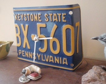 License Plate Desk Clock - Pennsylvania - Recycled and Repurposed - Keystone State - FREE SHIPPING