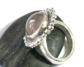Sterling Moonstone Ring, Moonstone Ring Silver, Statement Ring, Artisan Ring, Hand Crafted Ring, Large Stone Ring