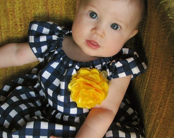 dress fall baby girl gingham blue yellow navy toddler outfit first birthday dress photo shoot checkered flower girl dress Thanksgiving dress