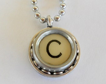 Recycled jewelry Initial Necklace Typewriter Key  Vintage Pendant Monogram Personalize