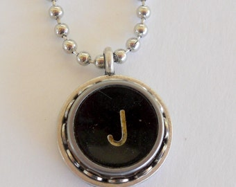 Typewriter Key Necklace, Letter J, Vintage, Initial Jewelry,  All Letters Available, Typography Jewelry,