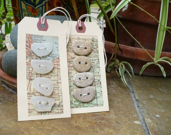 STONE BUTTONS and sea glass buttons...tags with eight handmade buttons,pebbles rock, organic button