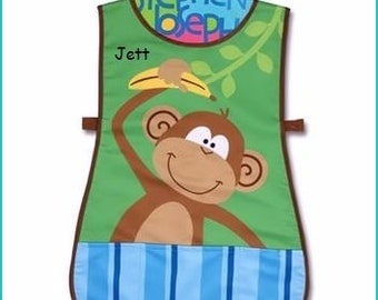 Personalized Stephen Joseph Monkey Apron SmockPaint, Craft, Artist Apron, Childrens Craft Apron, Coverup, Washable, Art Apron,