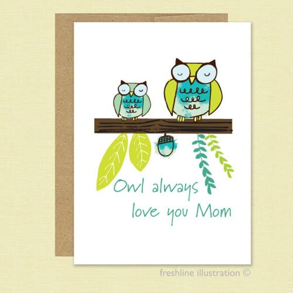 Happy Mother 39 S Day Card The Best Mom Card Owl By Freshline