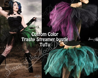 Custom Color Adult tutu skirt Bustle Toxic streamer halloween costume goth gothic dance gogo run --You Choose Size -- Sisters of the Moon