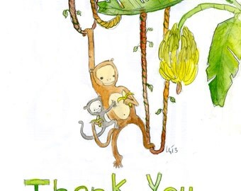 Father's Day Monkey Thank You (greeting card)