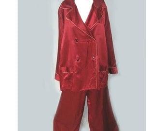Vintage 1940s Silk Wide Leg Mens Style Lounging Pajamas