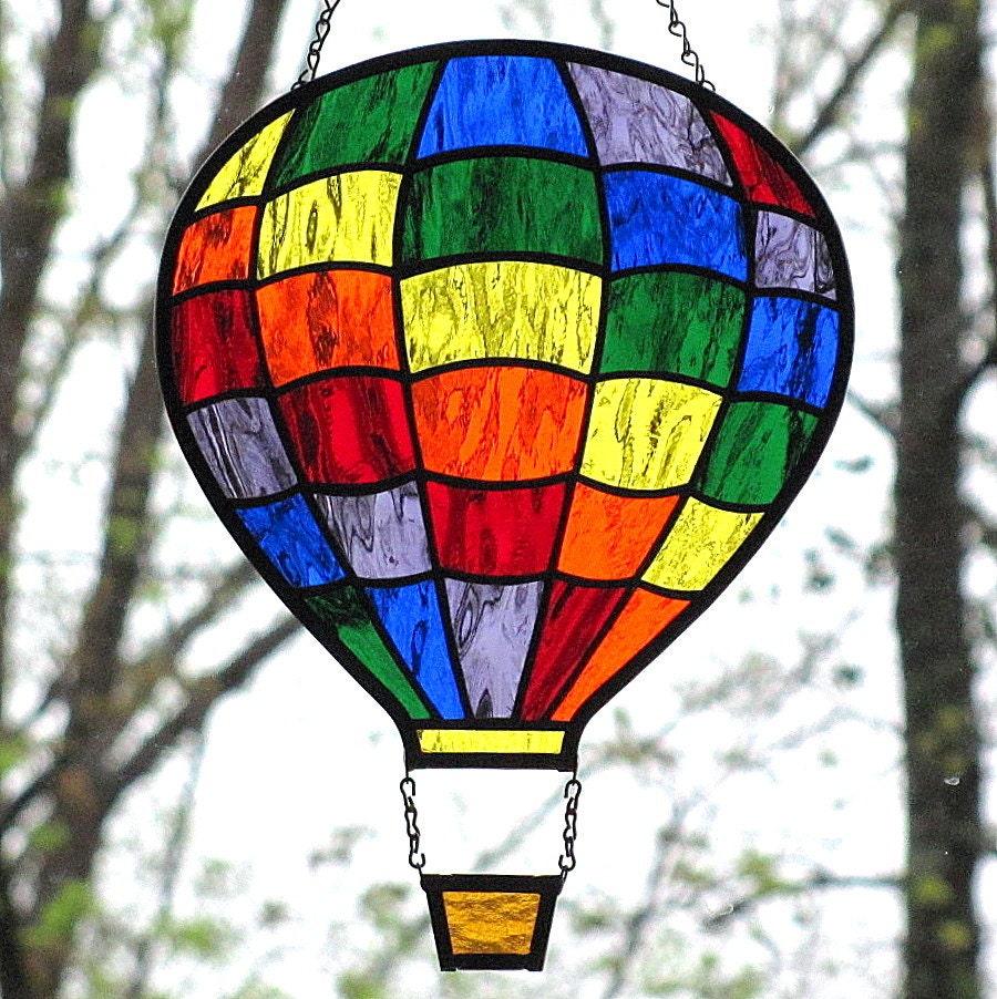 Stained Glass Rainbow Hot Air Balloon Suncatcher