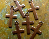 Brass Cross Charms - 6 pcs - Tiny Hand Antiqued Brass Charms - Religious Charms - Patina Queen