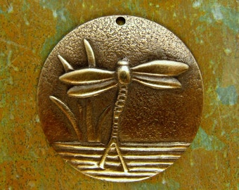 Brass Dragonfly Pendant - Hand Antiqued Round Charms - Patina Queen - 1