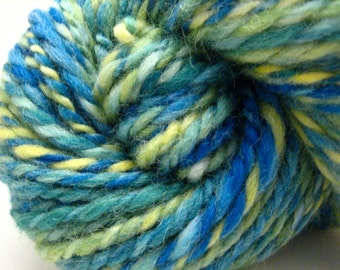 Handspun Yarn – Hand Dyed Norwegian Wool – 2 Ply Bulky Weight Yarn – Blue, Green and Yellow – 78 Yards